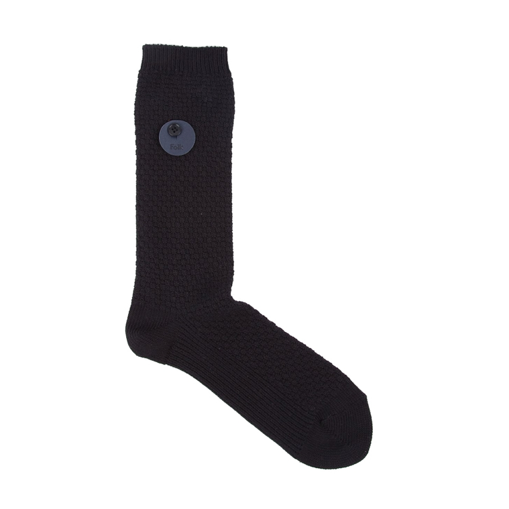 Folk Waffle Socks (Black Melange)