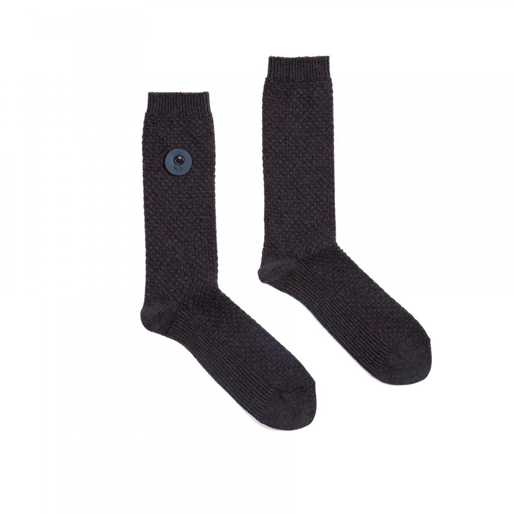Folk Waffle Socks (Charcoal)