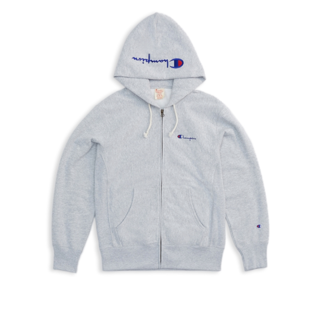 Champion Reverse Weave Hood Script Applique Full Zip Hooded Sweatshirt (Light Oxford Grey)