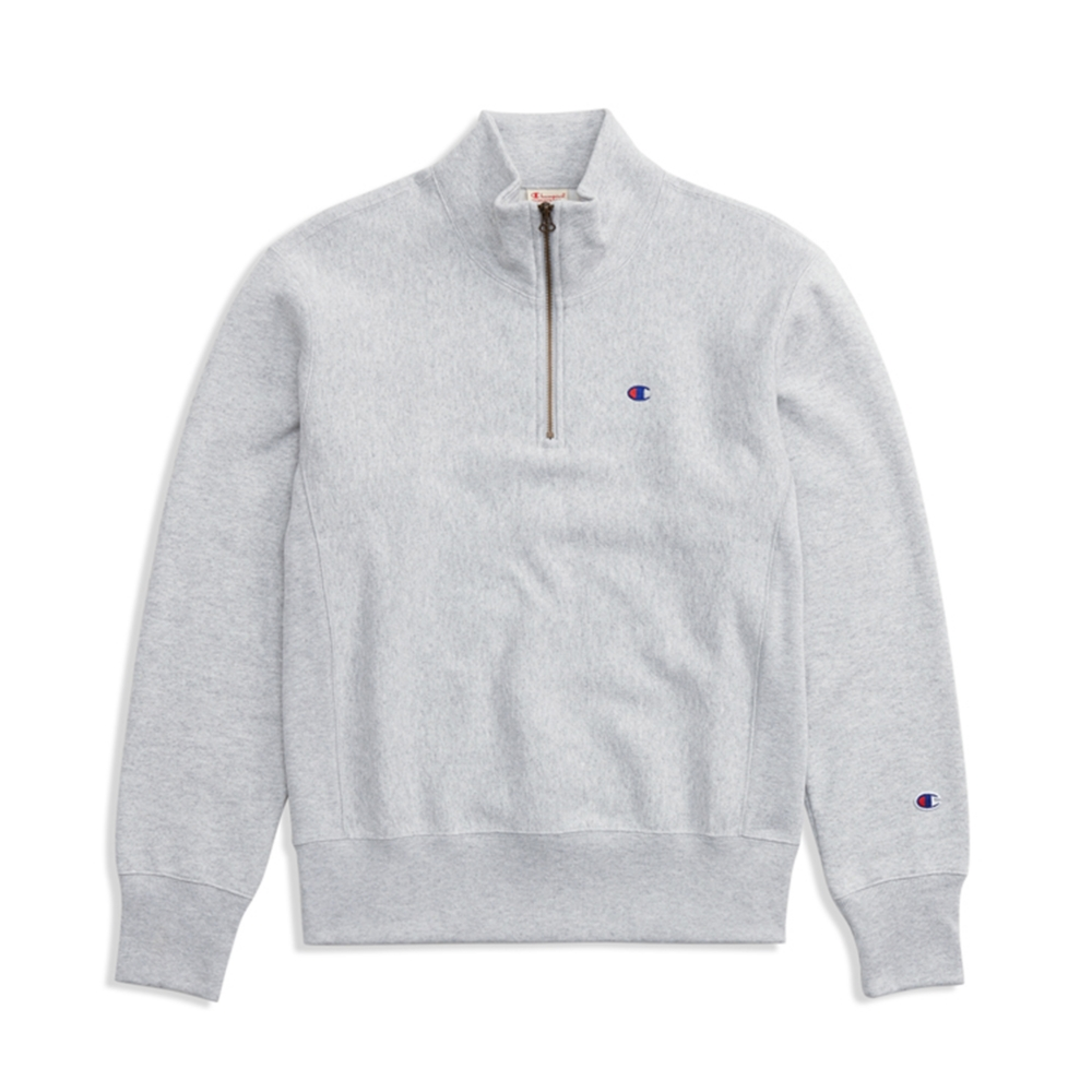 Champion Reverse Weave Half Zip-Through Turtleneck Sweatshirt (Light Oxford Grey)