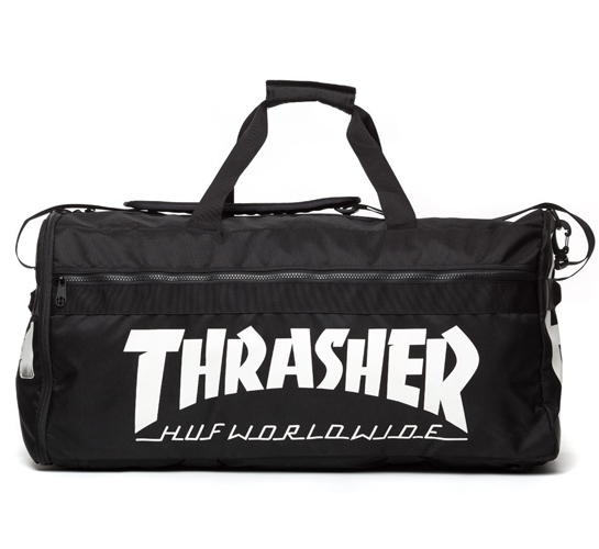 5cdebcb87d3 HUF X Thrasher Travel Duffel Bag (Black) - Consortium.