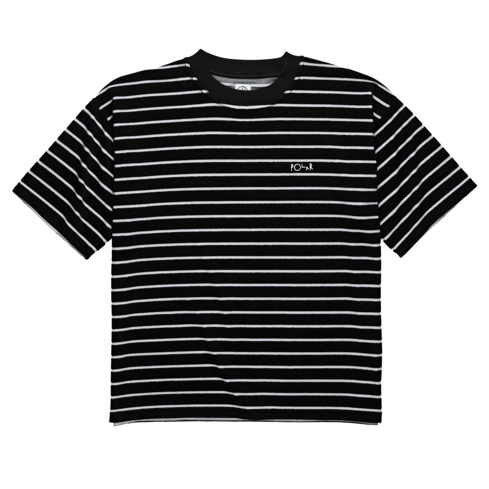 Polar Skate Co. Striped Terry Surf T-Shirt (Black/Light Grey)