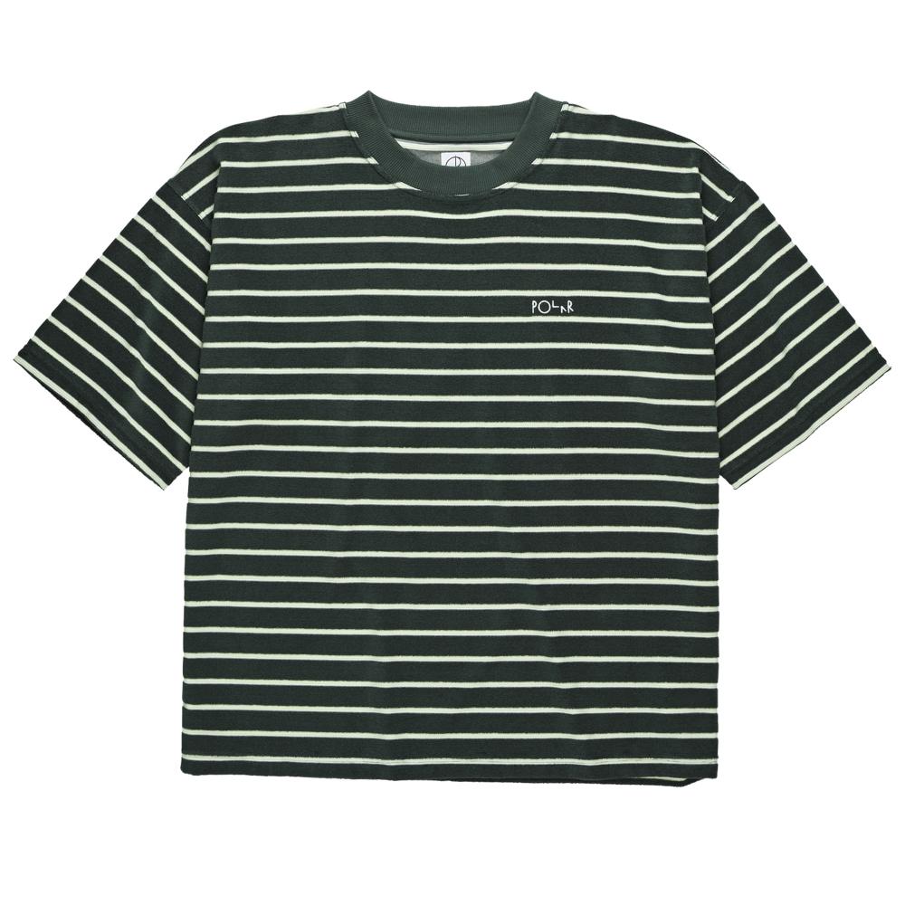 Polar Skate Co. Striped Terry Surf T-Shirt (Dark Green/Light Green)