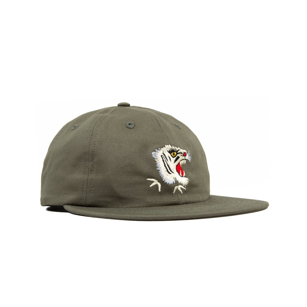 Maharishi White Tiger Head Embroidery 6 Panel Cap (Olive)