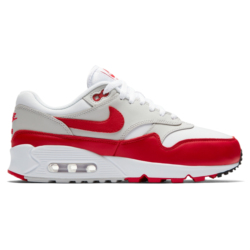 Nike Air Max 90/1 WMNS 'University Red' (White/University Red-Neutral Grey-Black)
