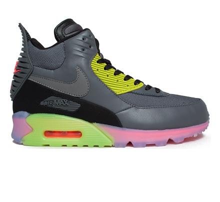 Nike Air Max 90 SneakerBoot Ice Dark Grey/Black Fierce Green Hyper