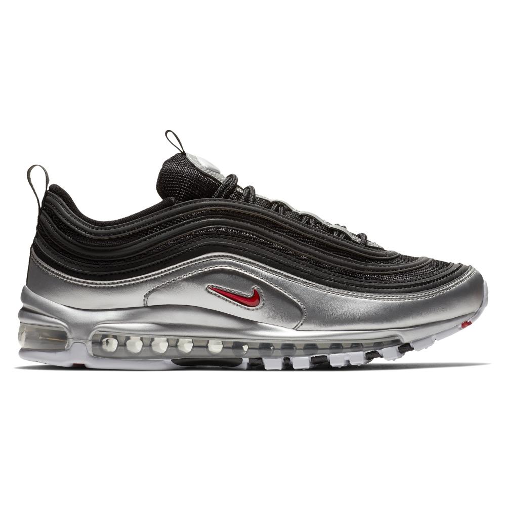 Nike Air Max 97 'B-Sides Metallic Pack' QS (Black/Varsity Red-Metallic Silver-White)