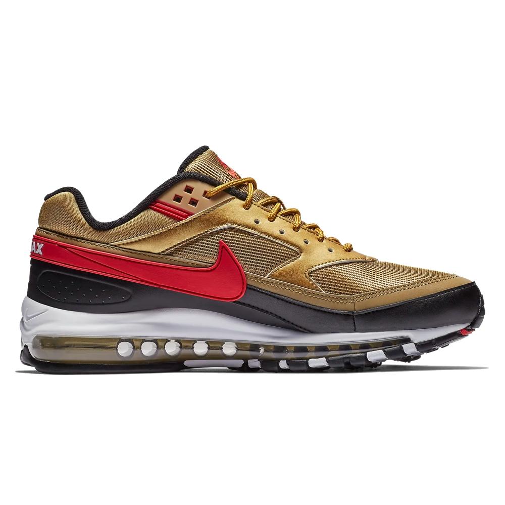 Nike Air Max 97/BW (Metallic Gold/University Red-White-Black)