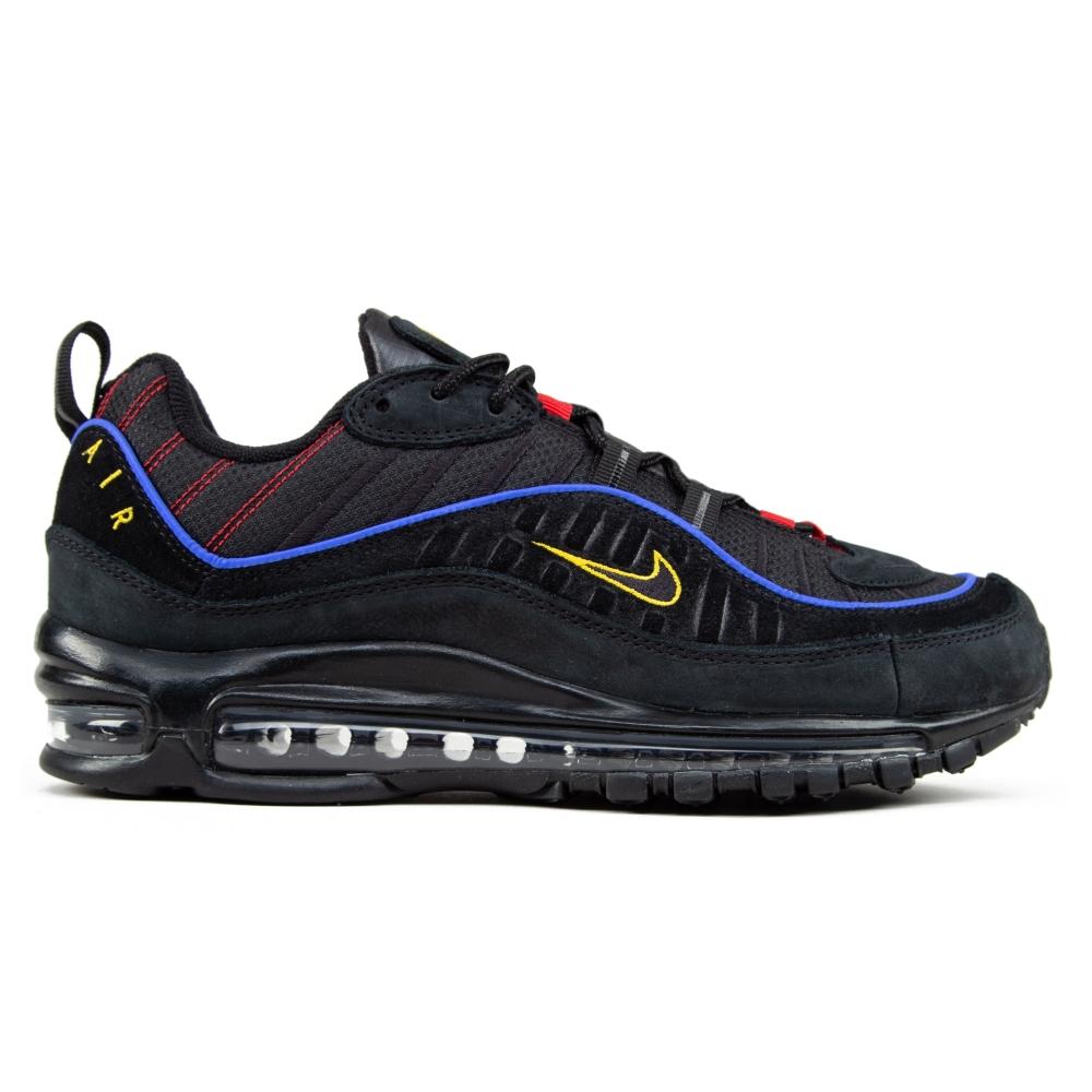 Nike Air Max 98 'Black Blue' (Black/Black-Amarillo-University Red)