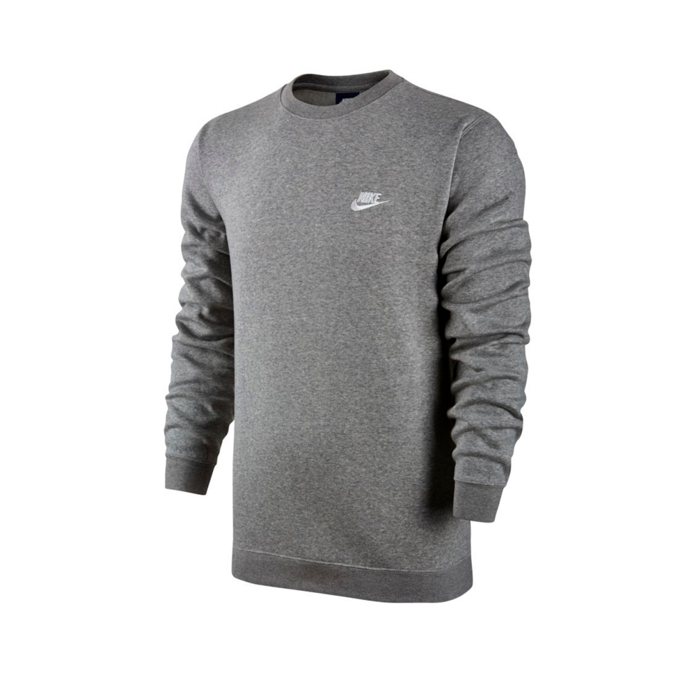9ae4b56f5 Nike Club Crew Neck Sweatshirt (Dark Grey Heather/White) - 804340 ...