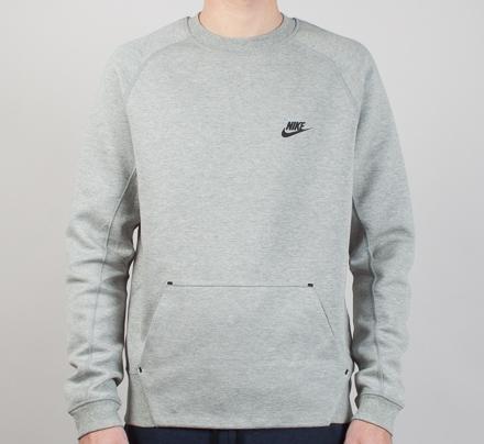 Nike Tech Fleece Crew Neck Sweatshirt (Dark Grey Heather/Medium Grey/Black)