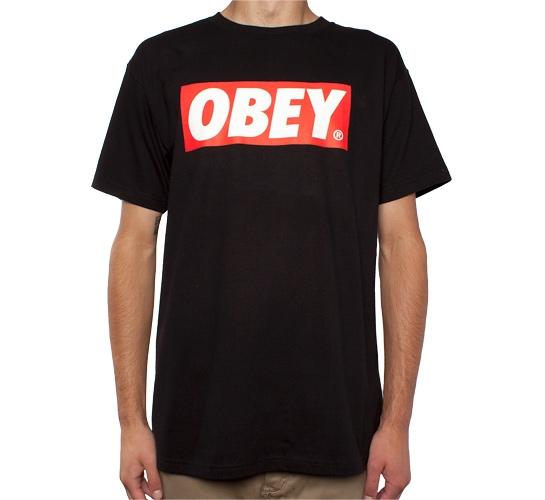 Obey bar logo t shirt black consortium for Black obey t shirt