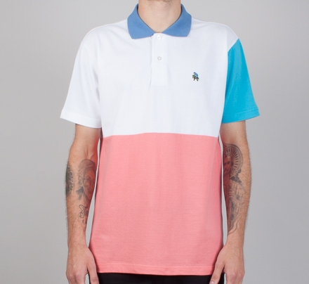 9148a1b7 Palace Short Sleeve Polo Shirt (White/Pink/Navy) - Consortium.