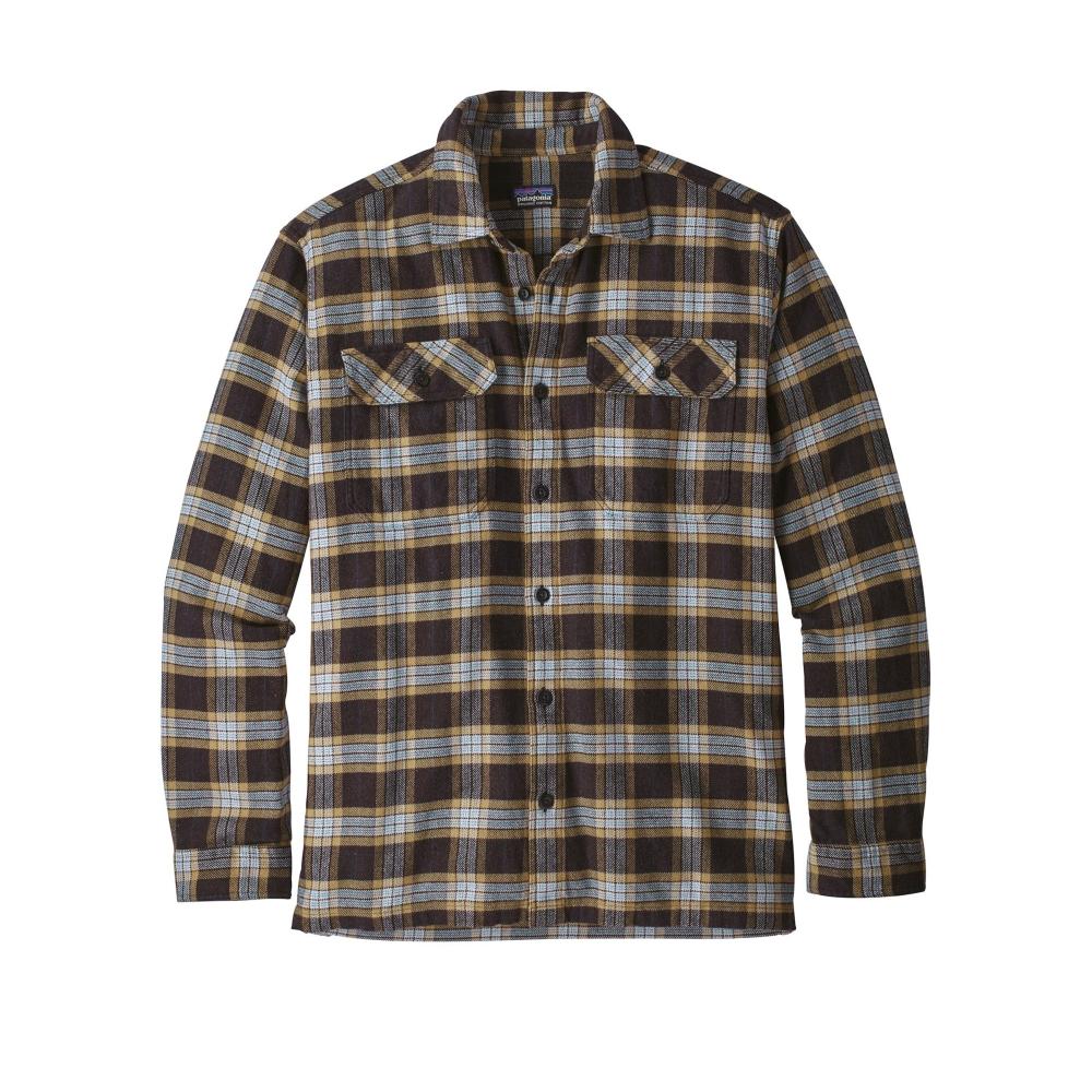 Patagonia Fjord Flannel Long Sleeve Shirt (Migration Plaid Small: Black)