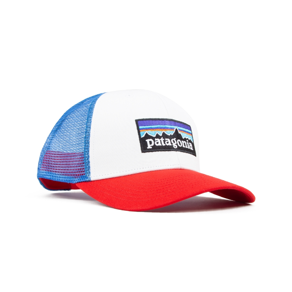 Patagonia P-6 Logo Trucker Cap (White w/Fire/Andes Blue)