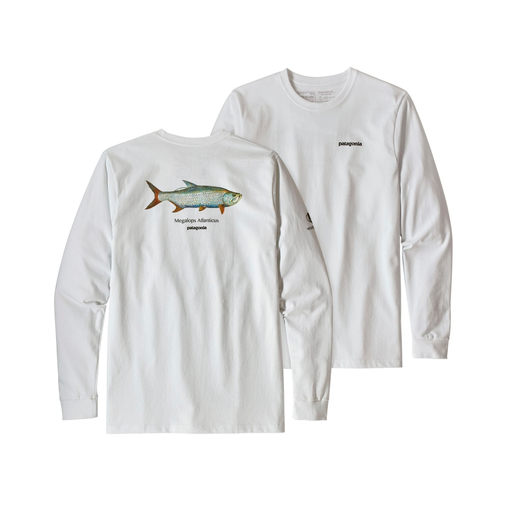 Patagonia Tarpon World Trout Responsibili-Tee Long Sleeve T-Shirt (White)
