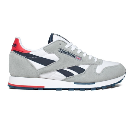 reebok classic leather utility sport grey white navy red. Black Bedroom Furniture Sets. Home Design Ideas