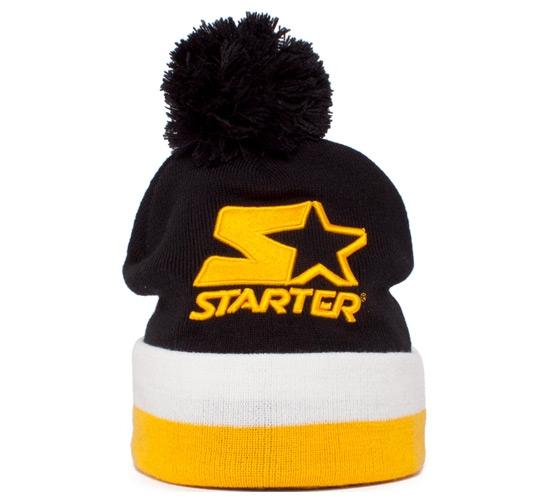 bc28621237b Starter Bobble Beanie (Black White Yellow) - Consortium.