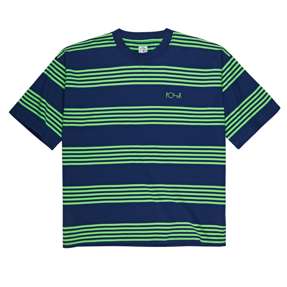 Polar Skate Co. Striped Surf T-Shirt (Dark Blue/Gecko Green)