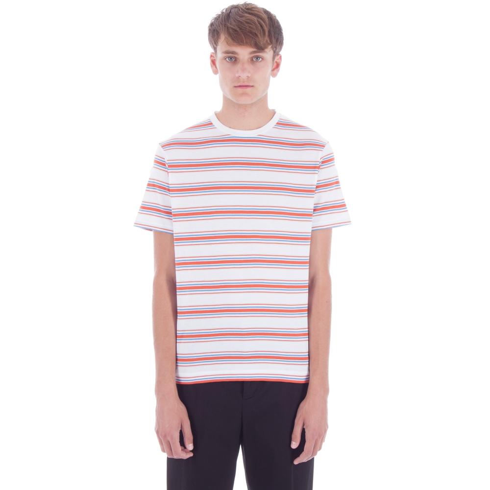 Sunspel 60s Multi Stripe Crew Neck T-Shirt (White/Brilliant Blue/Russet Orange/Mineral Blue)