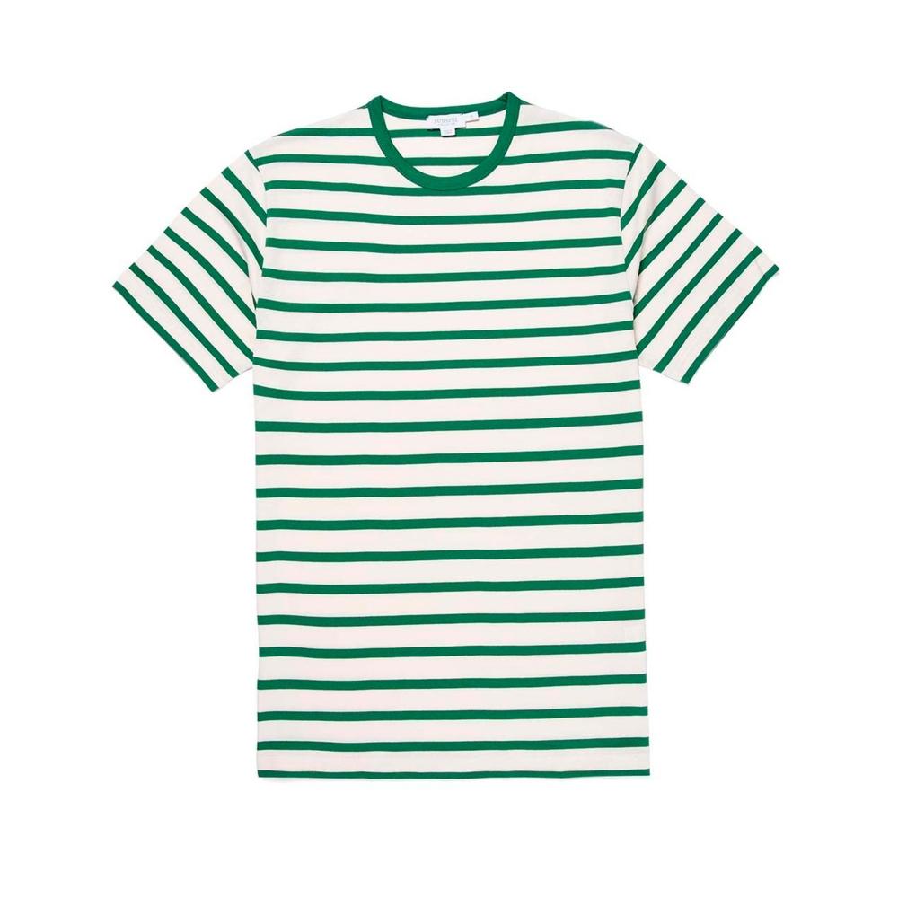 Sunspel Breton Striped Crew Neck Classic T-Shirt (Ecru/Chlorophilia Green)