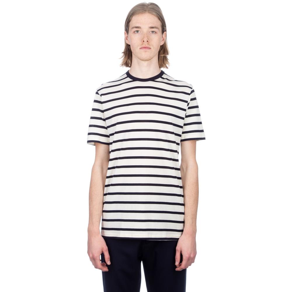 Sunspel Classic Cotton Breton Stripe T-Shirt (Ecru/Navy)