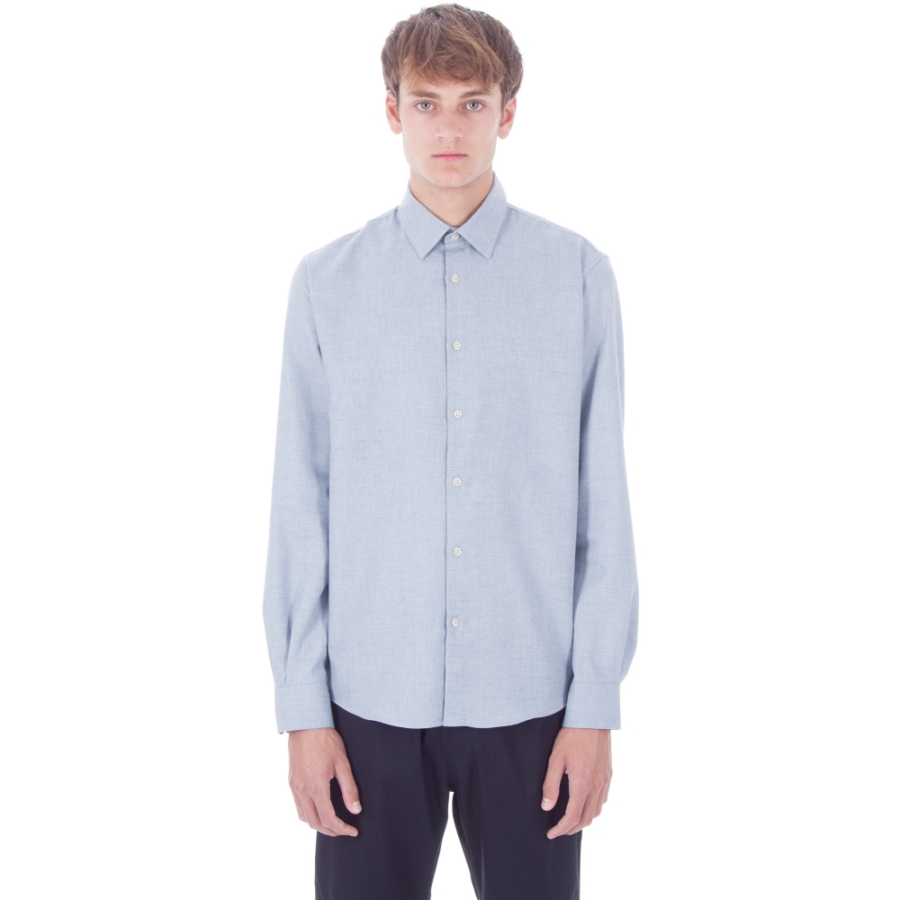 Sunspel Classic Cotton Flannel Shirt (Ash Blue Melange)