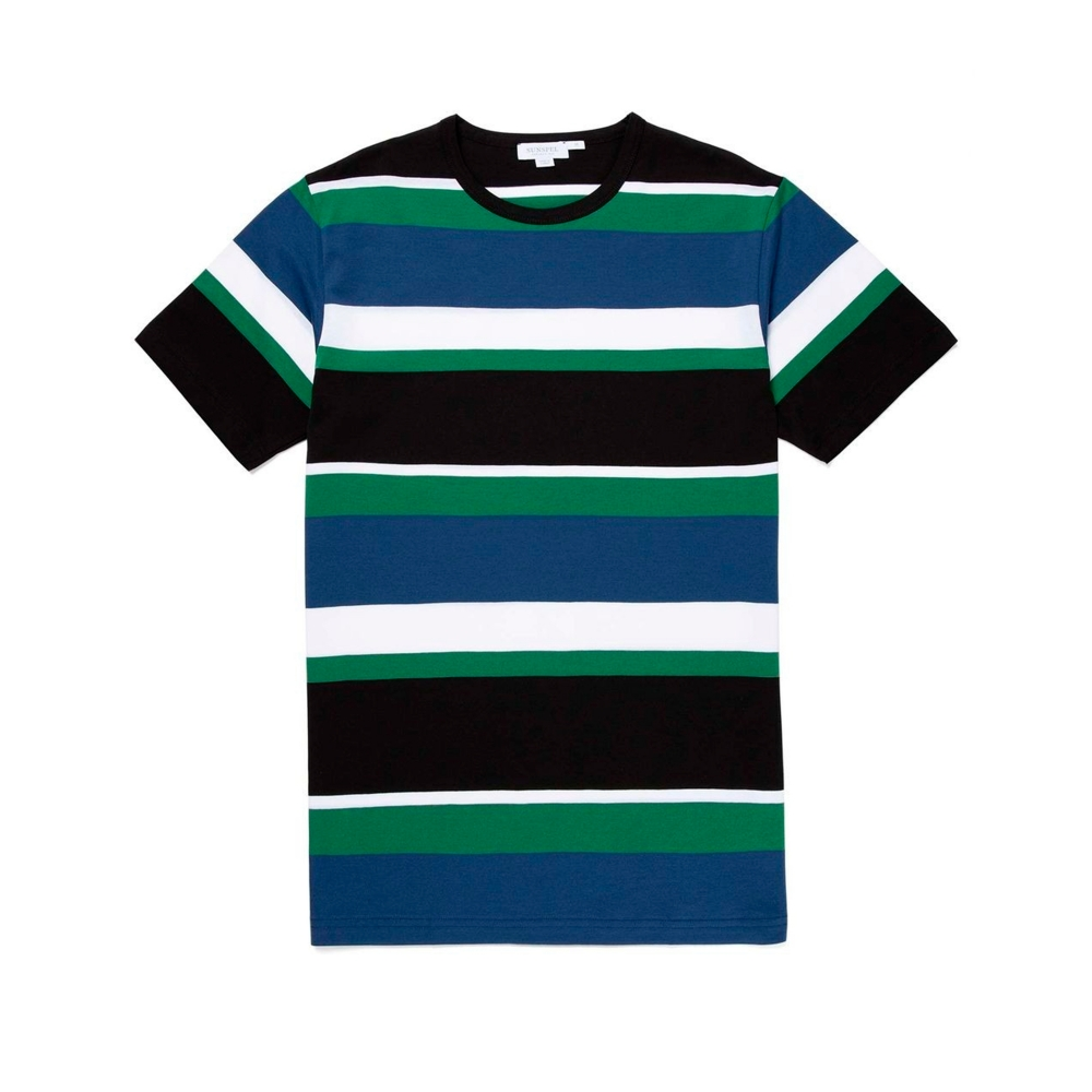 Sunspel Colour Block Striped Crew Neck Classic T-Shirt (Dark Indigo/Chlorophilia Green/Black/White)