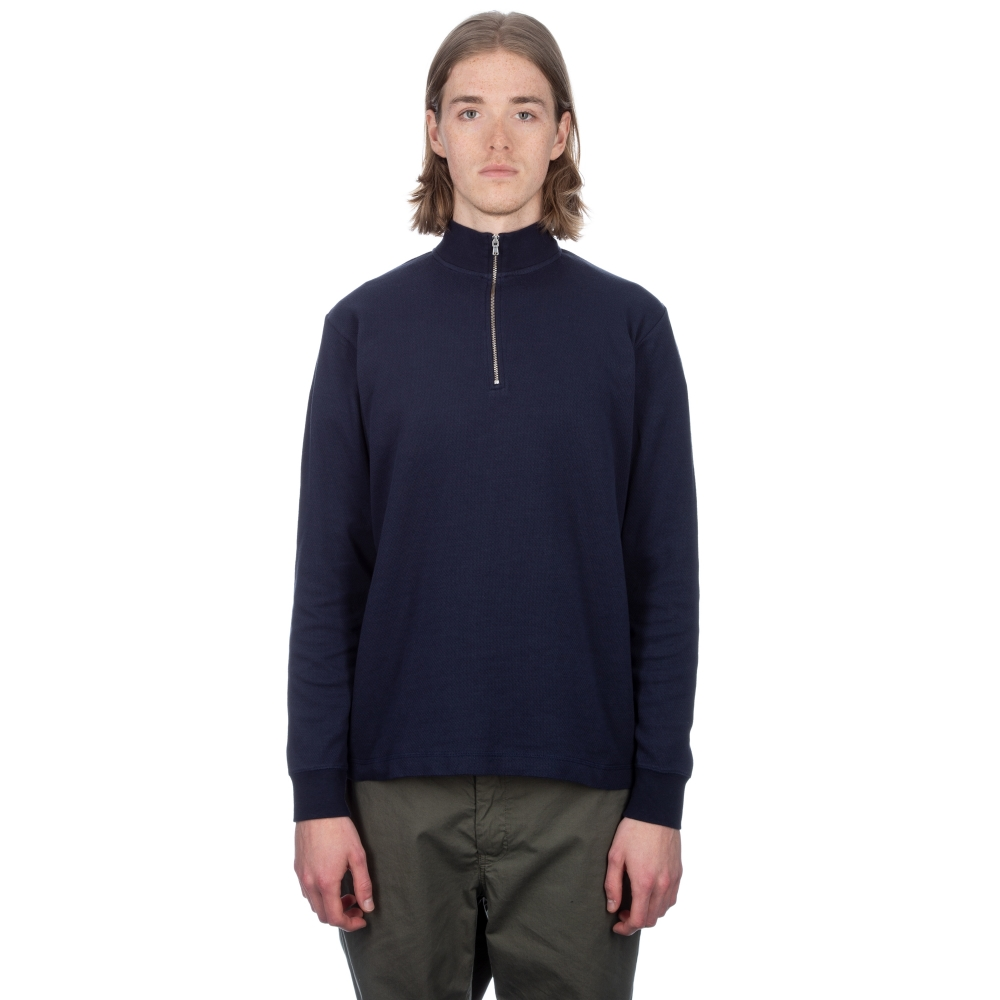 Sunspel Cotton Cellulock Half Zip Sweatshirt (Navy)