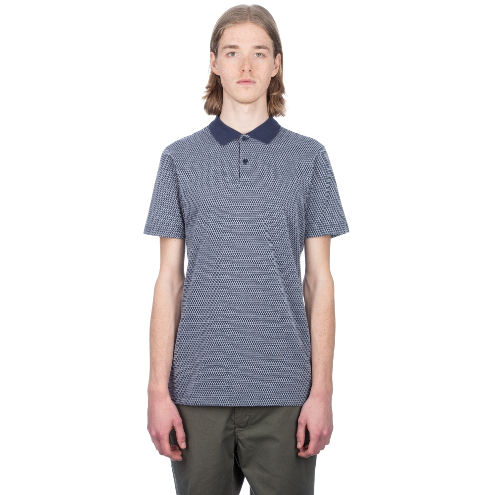 Sunspel Cotton Jacquard Polo Shirt (Navy/Off White)