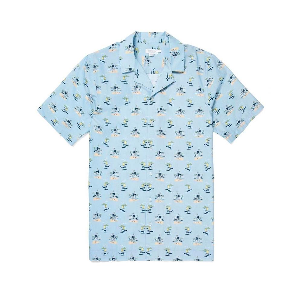 Sunspel Cotton Printed Camp Collar Shirt (Sorimachi Camera Man)