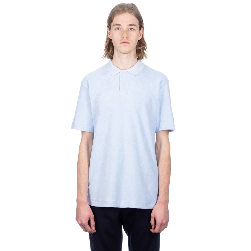 Sunspel Cotton Towelling Relaxed Fit Polo Shirt (Sky)