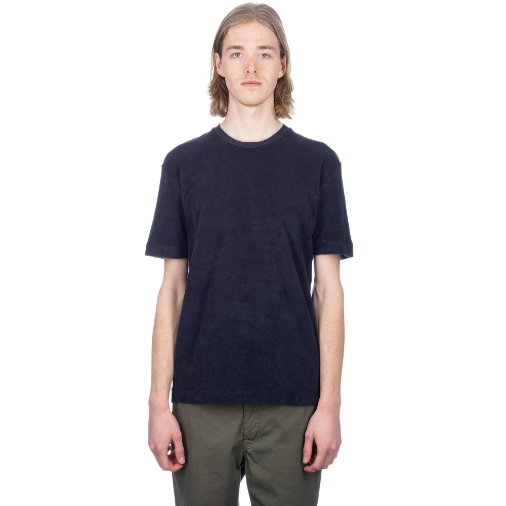 Sunspel Cotton Towelling Relaxed Fit T-Shirt (Navy)