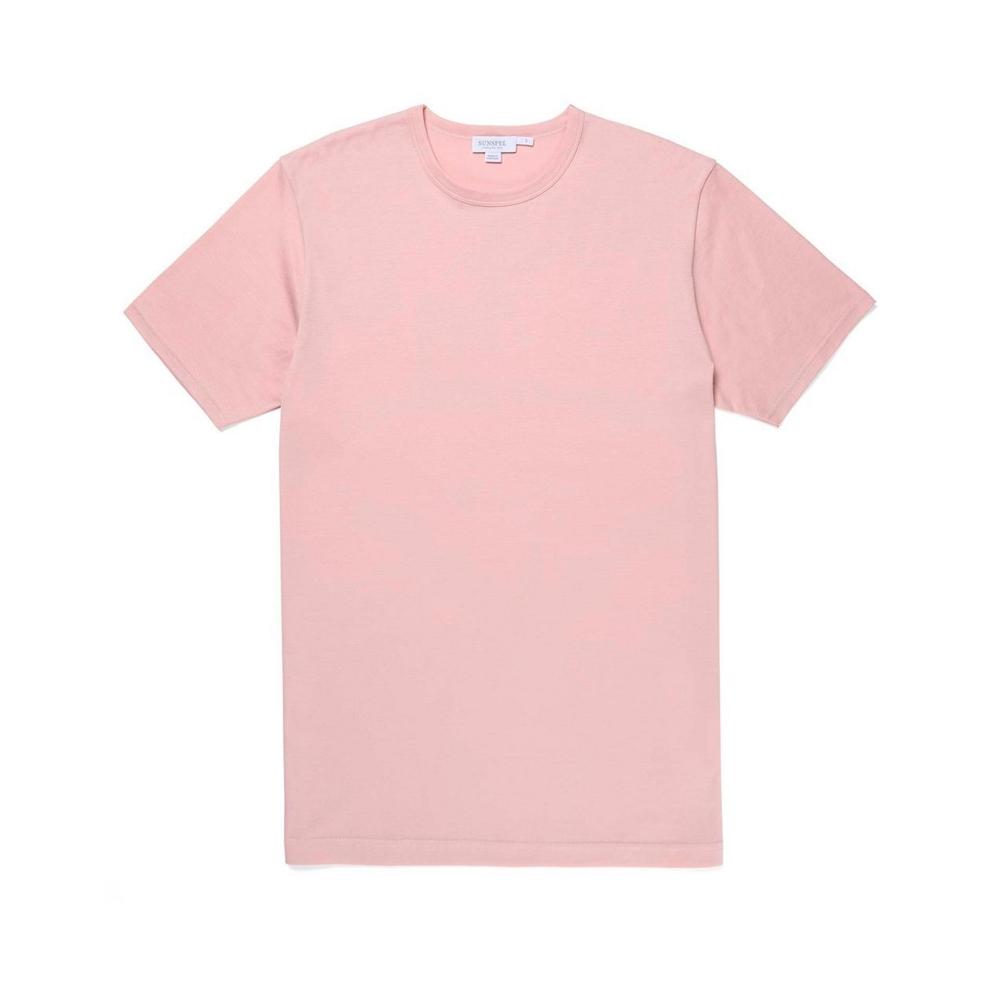Sunspel Crew Neck Classic T-Shirt (Pale Pink)
