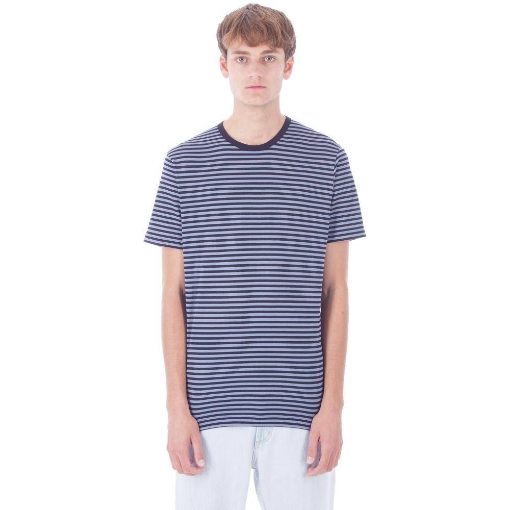 Sunspel English Stripe Crew Neck T-Shirt (Ash Blue/Navy)