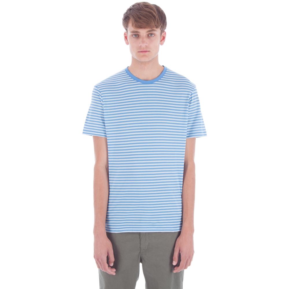 Sunspel English Stripe Crew Neck T-Shirt (Mineral Blue/Brilliant Blue)