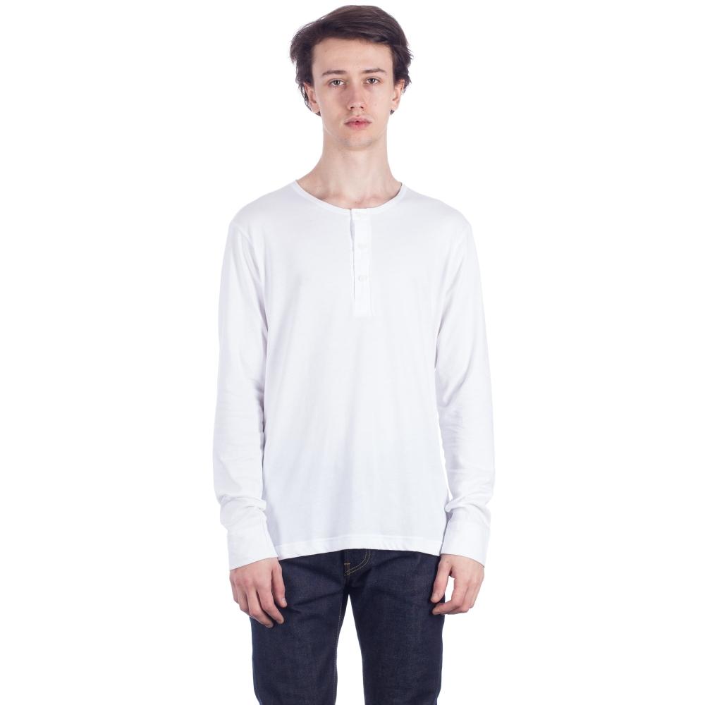Sunspel Henley Long Sleeve T-Shirt (White)