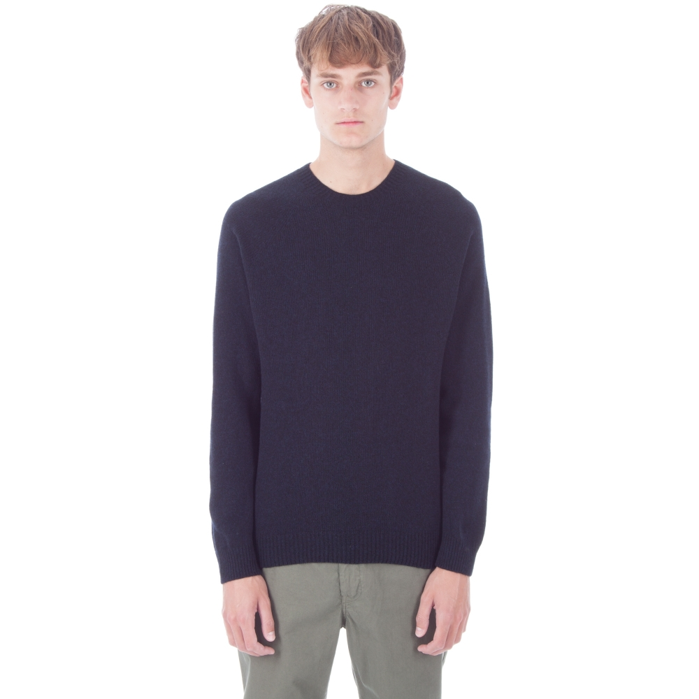 Sunspel Lambswool Crew Neck Jumper (Dark Navy Mouline)