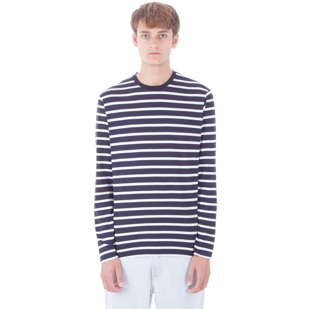 6deaac17134 Sunspel Long Sleeve Crew Neck T-Shirt (Navy White Brenton Stripe ...