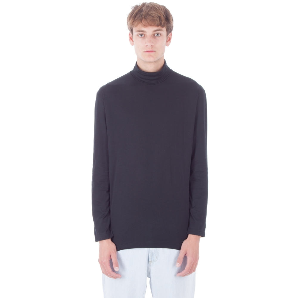 Sunspel Roll Neck Long Sleeve T-Shirt (Black)