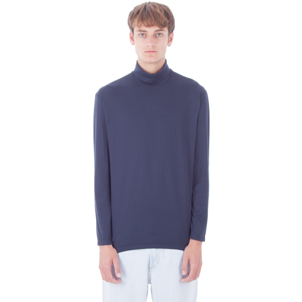 Sunspel Roll Neck Long Sleeve T-Shirt (Navy)