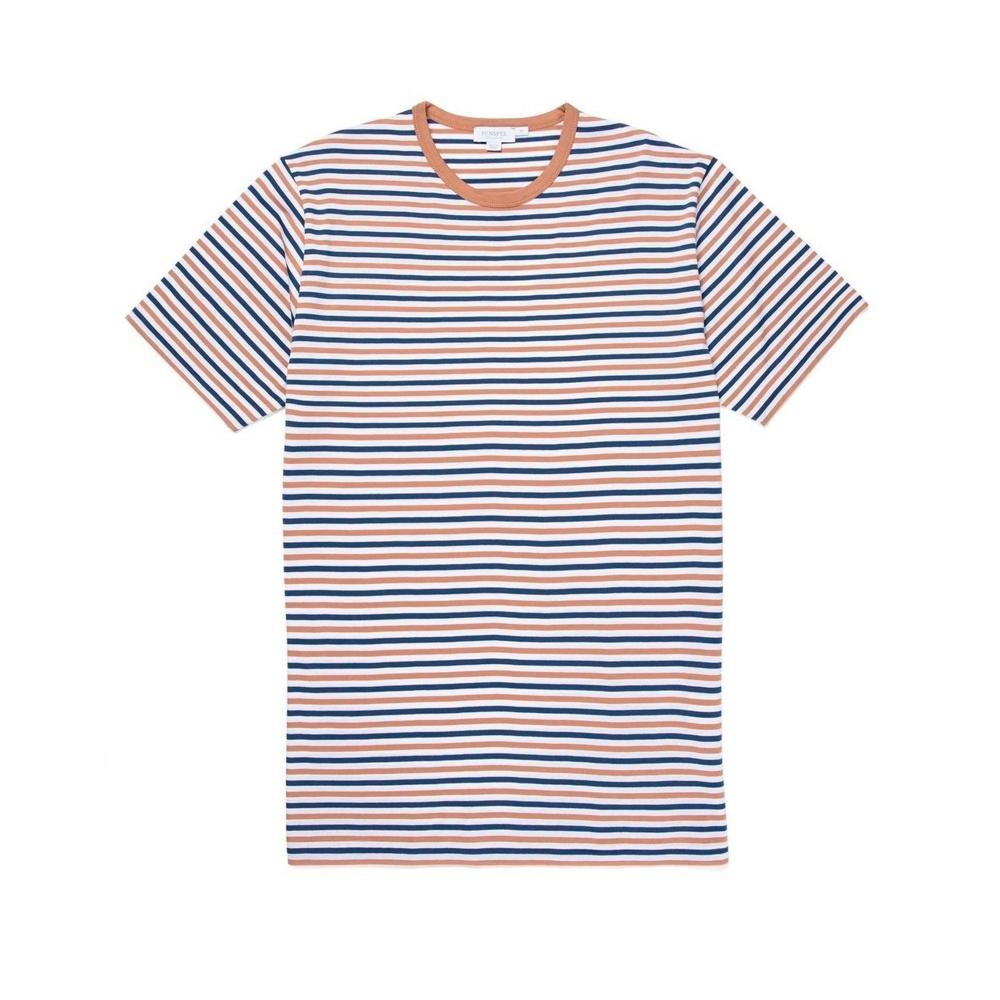 Sunspel Striped Crew Neck Classic T-Shirt (Dark Indigo/Yew/White)