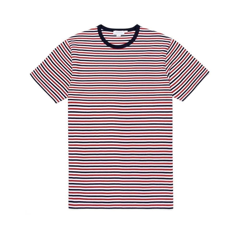 Sunspel Striped Crew Neck Classic T-Shirt (Madder/Navy/White)