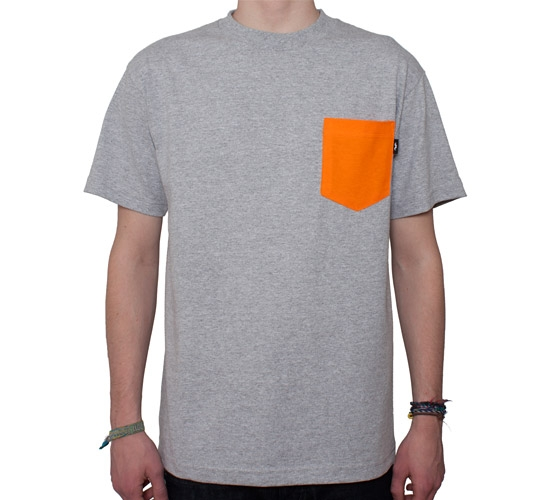 d4bfb4ab68 The Quiet Life Contrast Pocket T-Shirt (Heather Grey/Orange ...