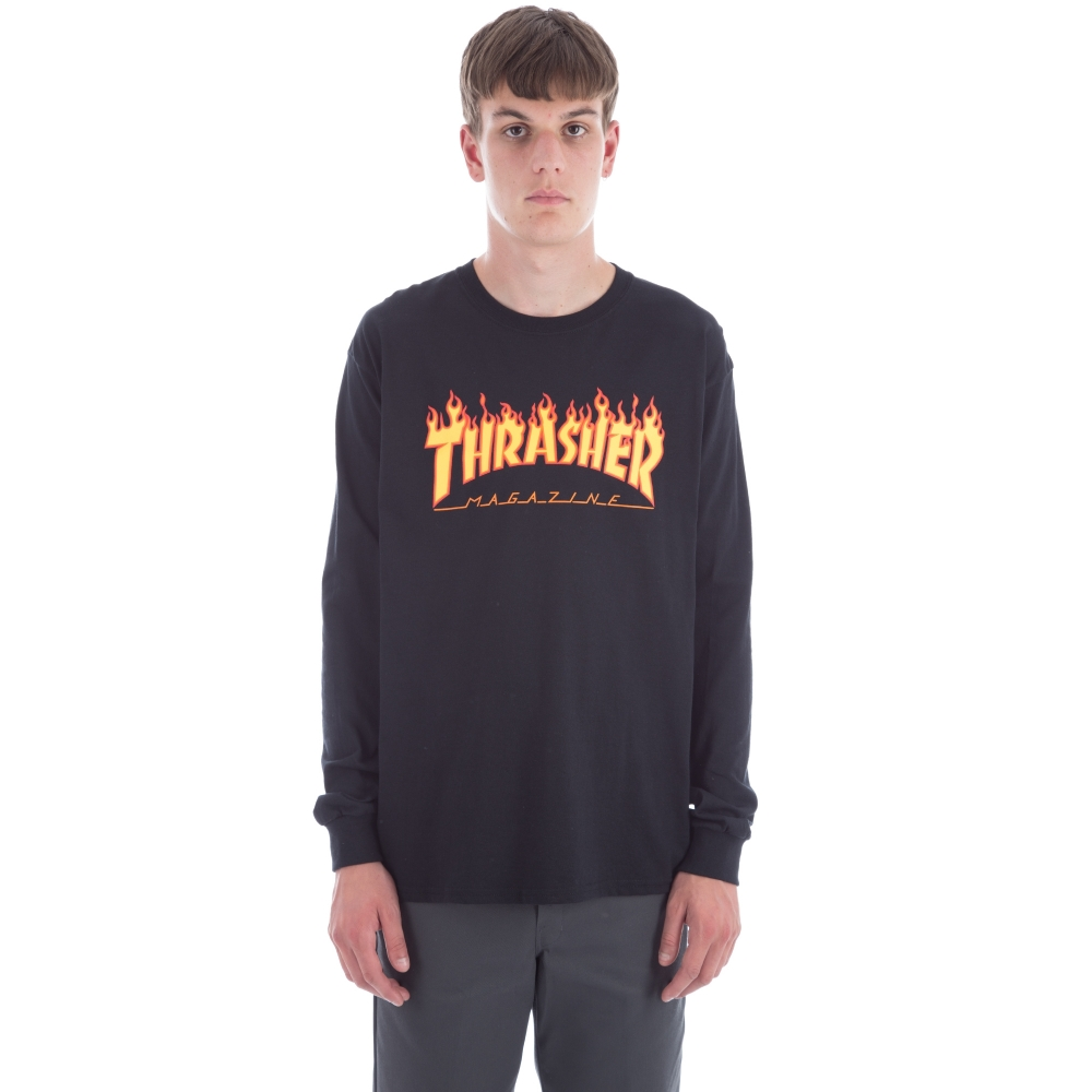 Thrasher Flame Logo Long Sleeve T-Shirt (Black)
