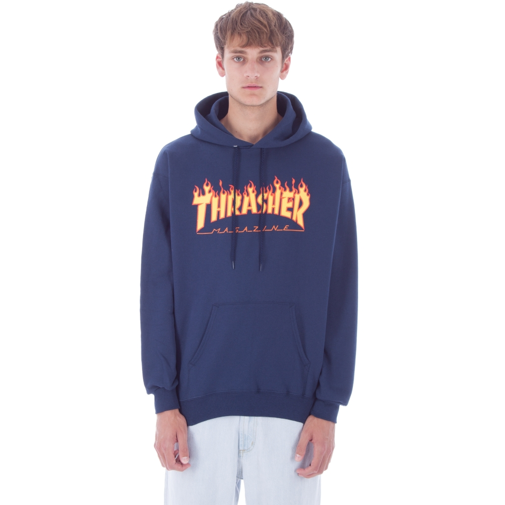 92f9c5216d6e Thrasher Flame Logo Pullover Hooded Sweatshirt (Navy) - Consortium.
