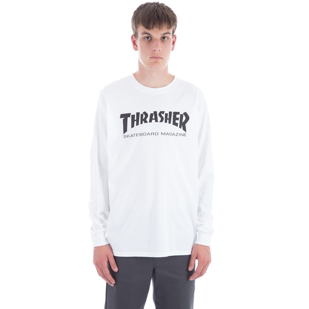 Thrasher Logo Long Sleeve T-Shirt (White/Black)