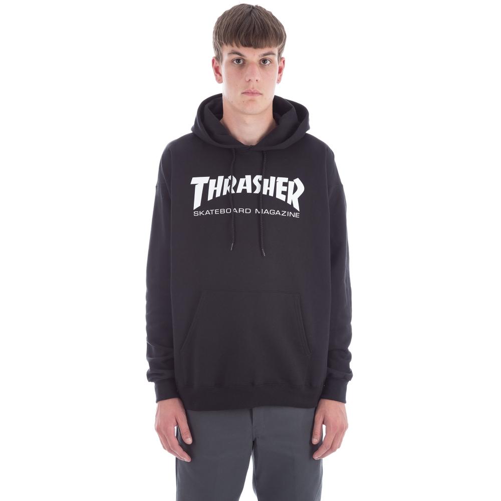 Thrasher Logo Pullover Hooded Sweatshirt (Black/White)