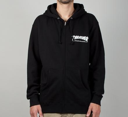 Thrasher Logo Zip Through Hooded Sweatshirt (Black/White)