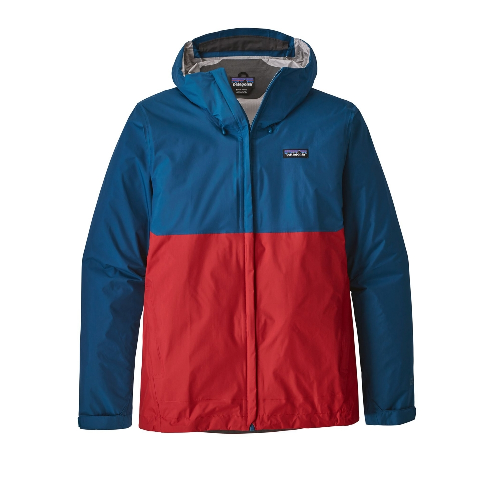 Patagonia Torrentshell Jacket (Big Sur Blue w/Fire Red)